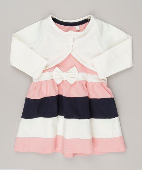 Vestido-com-recortes-e-laco---Bolero-Off-white-em-algodao---sustentavel--Rosa-9048217-Rosa_1