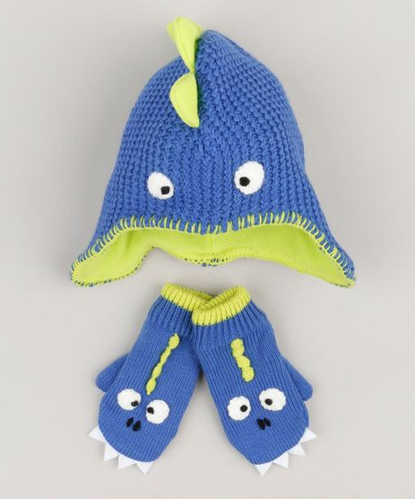 Kit-de-Gorro---Luva--Dinossauro--em-Trico-Azul-8872272-Azul_1