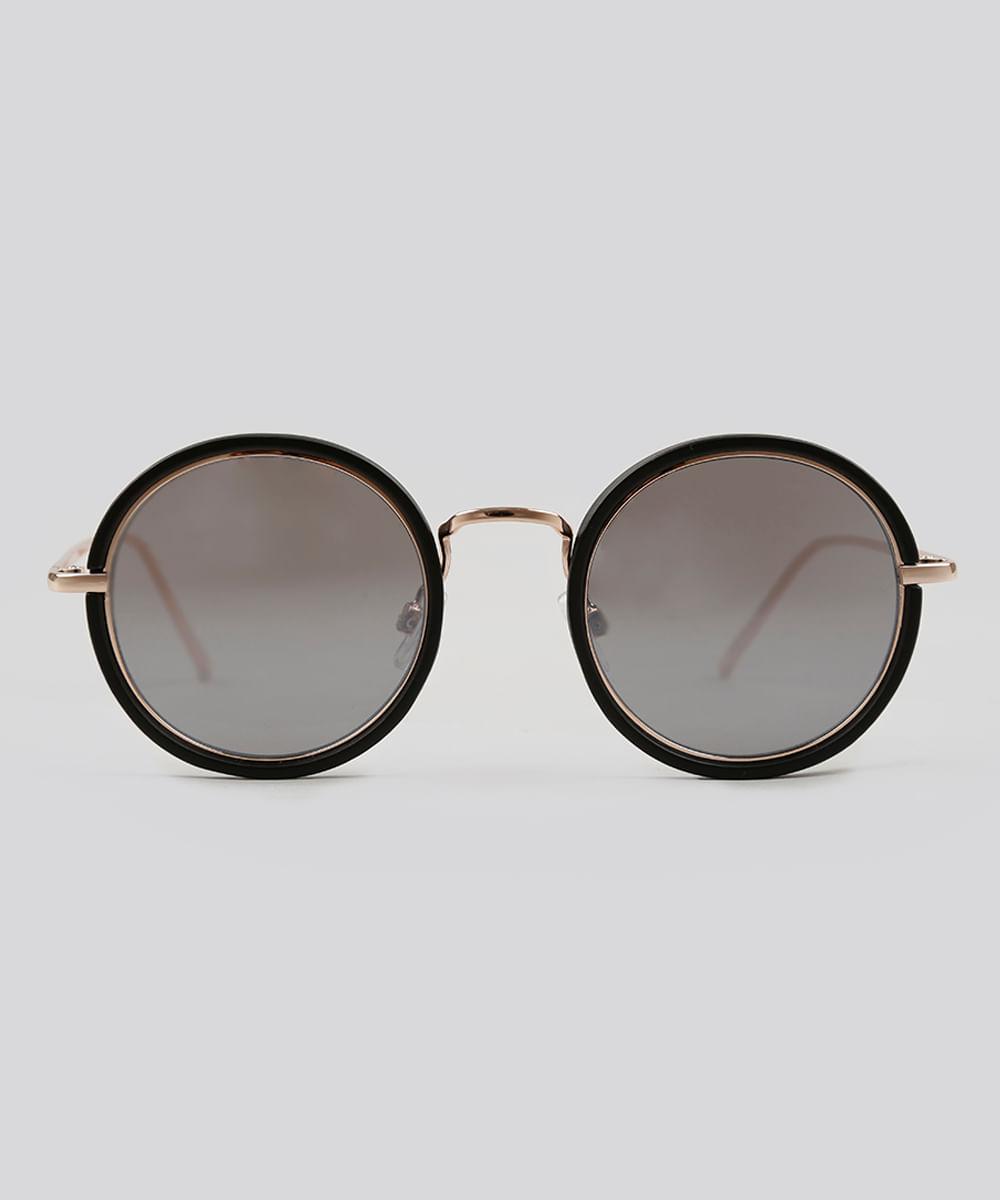 Óculos de Sol Redondo Feminino Oneself Dourado - ceacollections ec698a4fa8