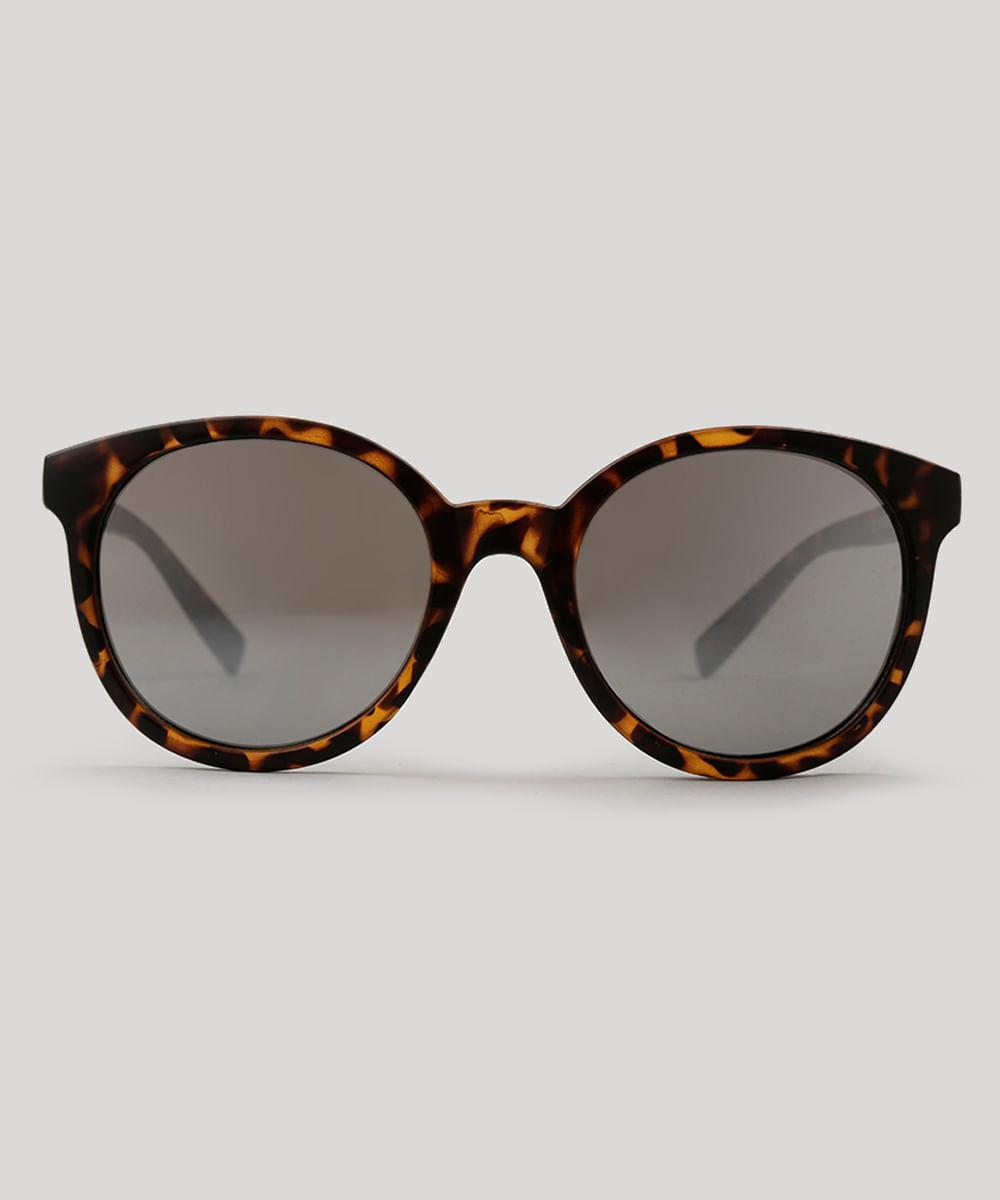 ee3763ad8ec7f Óculos de Sol Redondo Feminino Oneself Tartaruga - ceacollections