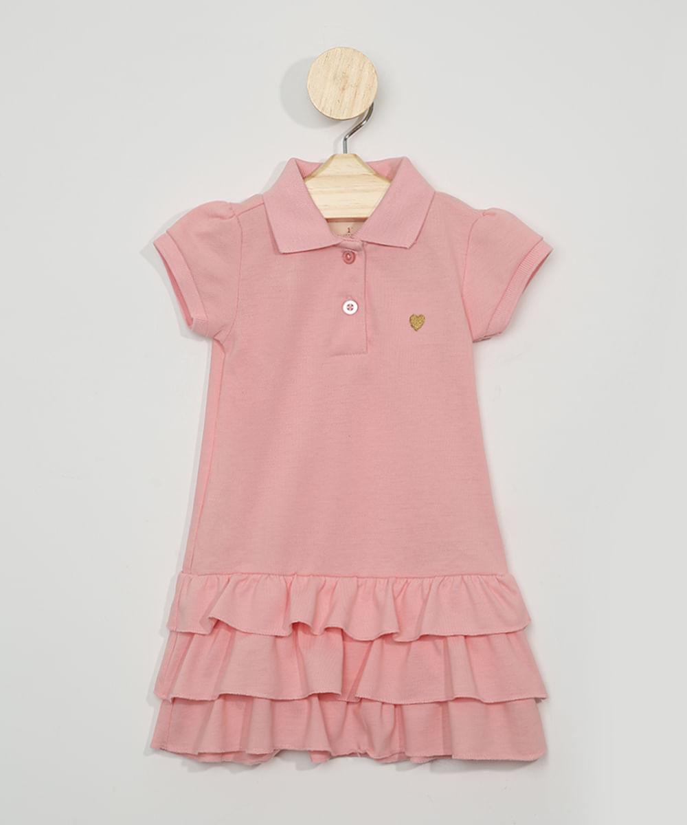 Vestido Polo Infantil com Babados Manga Curta Rosa Claro