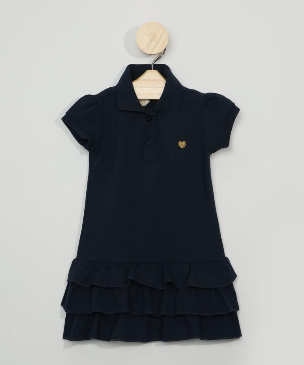 Vestido Polo Infantil com Babados Manga Curta Azul Marinho