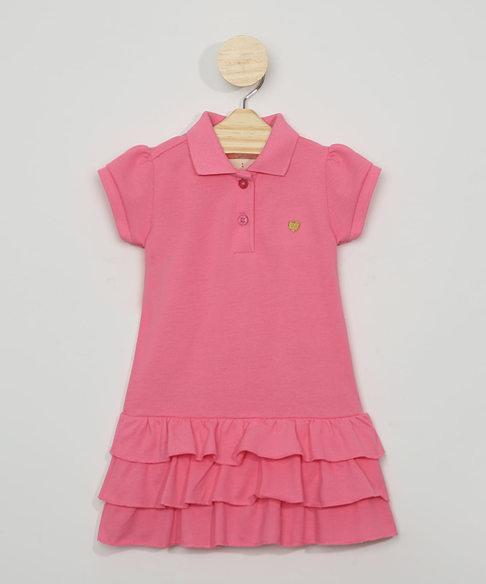 Vestido Polo Infantil com Babados Manga Curta Pink