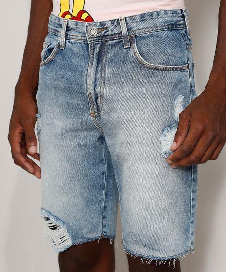 Bermuda-Jeans-Masculina-Slim-Destroyed-Marmorizada-Azul-Claro-9972479-Azul_Claro_1