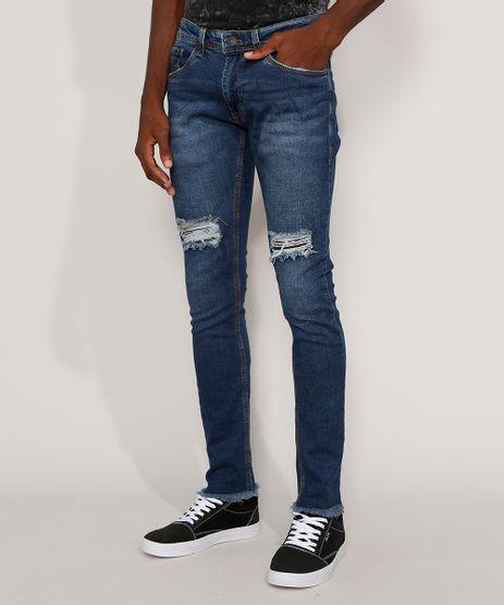 Calca-Jeans-Masculina-Skinny-com-Rasgos-e-Barra-Desfiada-Azul-Escuro-9964244-Azul_Escuro_1