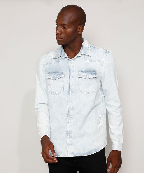Camisa-Jeans-Masculina-Overshirt-Comfort-Destroyed-Marmorizada-Manga-Longa-Azul-Claro-9968744-Azul_Claro_1