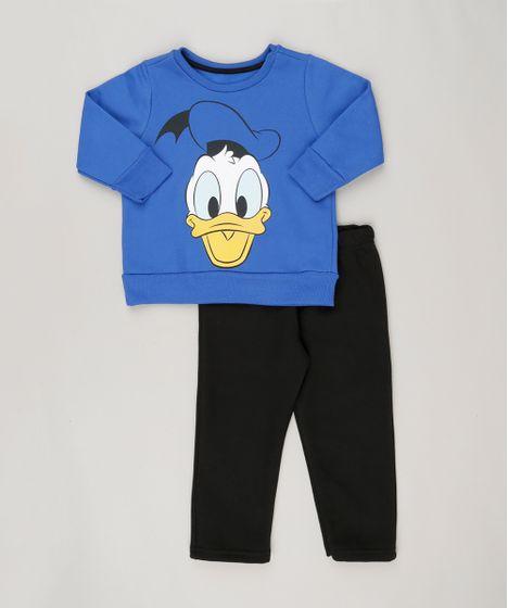 53df703424 Conjunto Pato Donald de Blusão Azul + Calça em Moletom Preta - cea