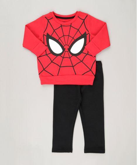a56ff8ad8 Conjunto Homem Aranha de Blusão Vermelho + Calça em Moletom ...
