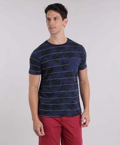 Camiseta-Listrada-com-Bolso-e-Estampa-Floral-Azul-Marinho-8969143-Azul_Marinho_1