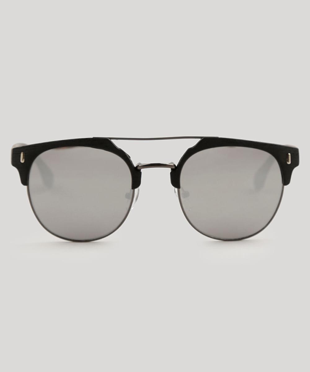 Óculos de Sol Redondo Masculino Oneself Preto - Único c0dafd4c9e