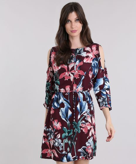 Vestido-Feminino-Open-Shoulder-Estampado-Floral-Curto-Vinho-8886729-Vinho_1