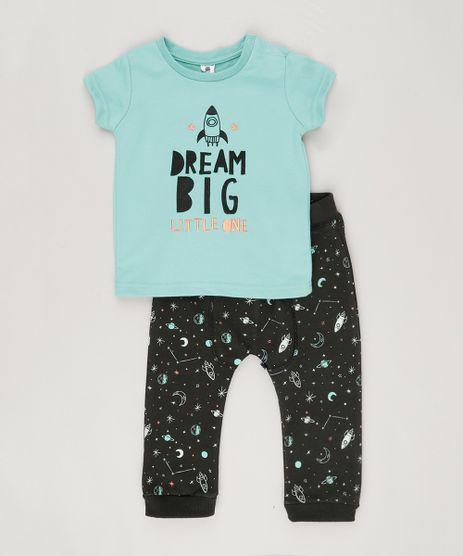 Conjunto-Infantil--de-Camiseta-Manga-Curta-Verde-Agua---Calca-em-Moletom-Estampada-de-Foguetes-em-Algodao---Sustentavel-Preta-8866742-Preto_1