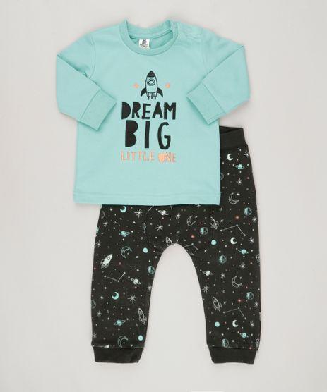Conjunto-Infantil--de-Camiseta-Manga-Longa-Verde-Agua---Calca-em-Moletom-Estampada-de-Foguetes-em-Algodao---Sustentavel-Preta-8824528-Preto_1