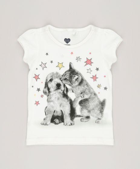 Blusa-Infantil--Cachorro-e-Gato-Decote-Careca-Manga-Curta-com-Glitter-em-Algodao---Sustentavel-Off-White-9034410-Off_White_1