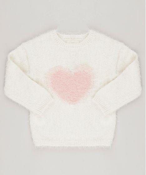 Suéter Infantil em Tricô com Estampa de Coração Gola Redonda e Manga ... c4153f08e76