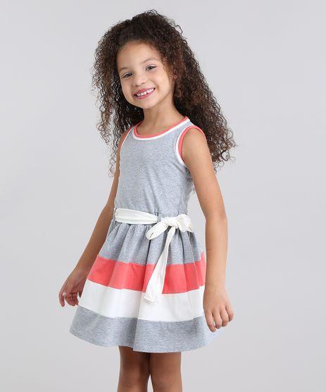 Vestido-Infantil-com-Laco-Sem-Manga-em-Algodao---sustentavel-Cinza-Mescla-9048699-Cinza_Mescla_1