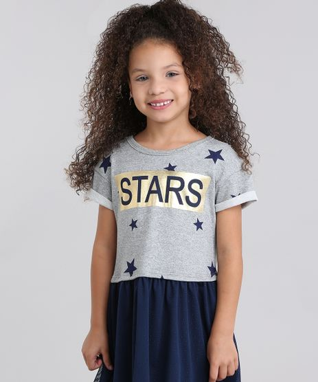 Vestido-Infantil--Estampado-de-Estrelas-com-Tule-Manga-Curta-Cinza-Mescla-9069674-Cinza_Mescla_1