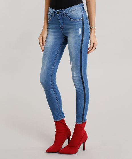 Calca-Jeans-Feminina-Cigarrete-com-Faixas-Laterais-Azul-Medio-9012151-Azul_Medio_1