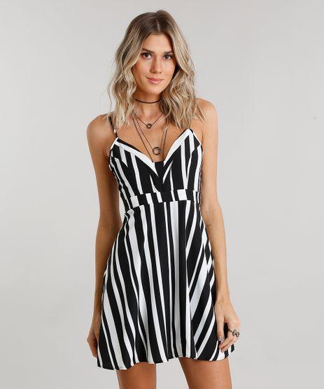 Vestido-Feminino-Listrado-Curto-com-Alca-Preto-8889038-Preto_1