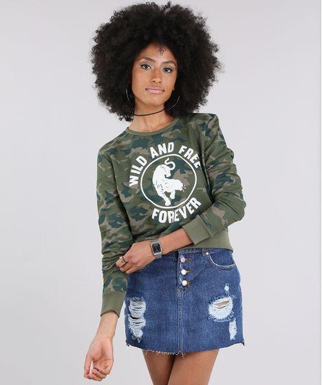 Blusão em Moletom Cropped Estampado Camuflado Verde Militar - cea 7d7988fd7a3