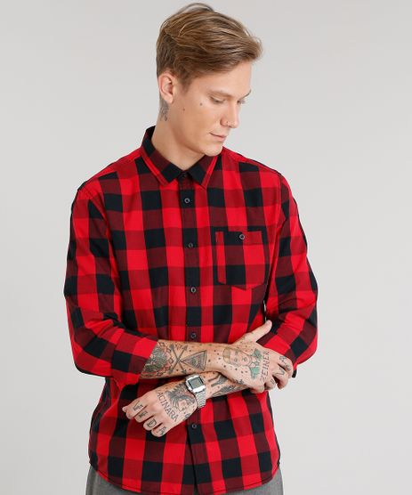 Camisa-Masculina-Xadrez-Manga-Longa-Vermelha-8448777-Vermelho_1