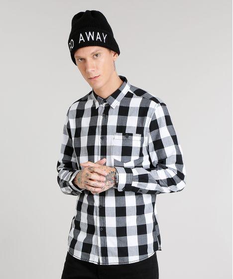 1d85f3f15 Camisa-Masculina-Xadrez-Manga-Longa-Branca-8448783-Branco 1 ...