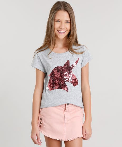 Blusa-Infantil-Unicornio-com-Paete-Dupla-Face-Cinza-Mescla-Claro-9102804-Cinza_Mescla_Claro_1