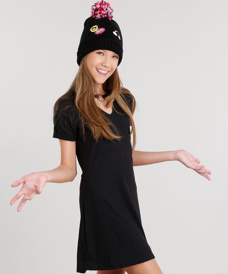 Vestido-Infantil-Choker-com-Argola-Curto-Tshirt-Dress-Manga-Curta-Canelado-Preto-9048074-Preto_1