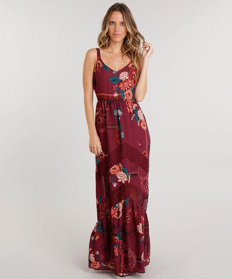 Vestido-Feminino-Longo-Estampado-Floral-com-Renda-de-Alca-Vinho-8883209-Vinho_1