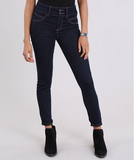 Calça Jeans Super Skinny Pull Up Azul Escuro - cea 6998e4c18e56f