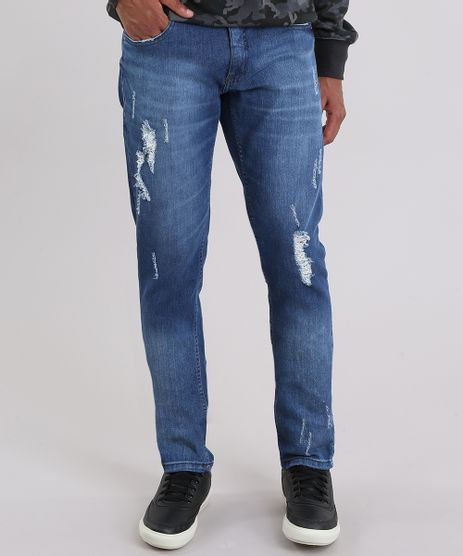 Calca-Jeans-Slim-Destroyed-Azul-medio-8938385-Azul_Medio_1
