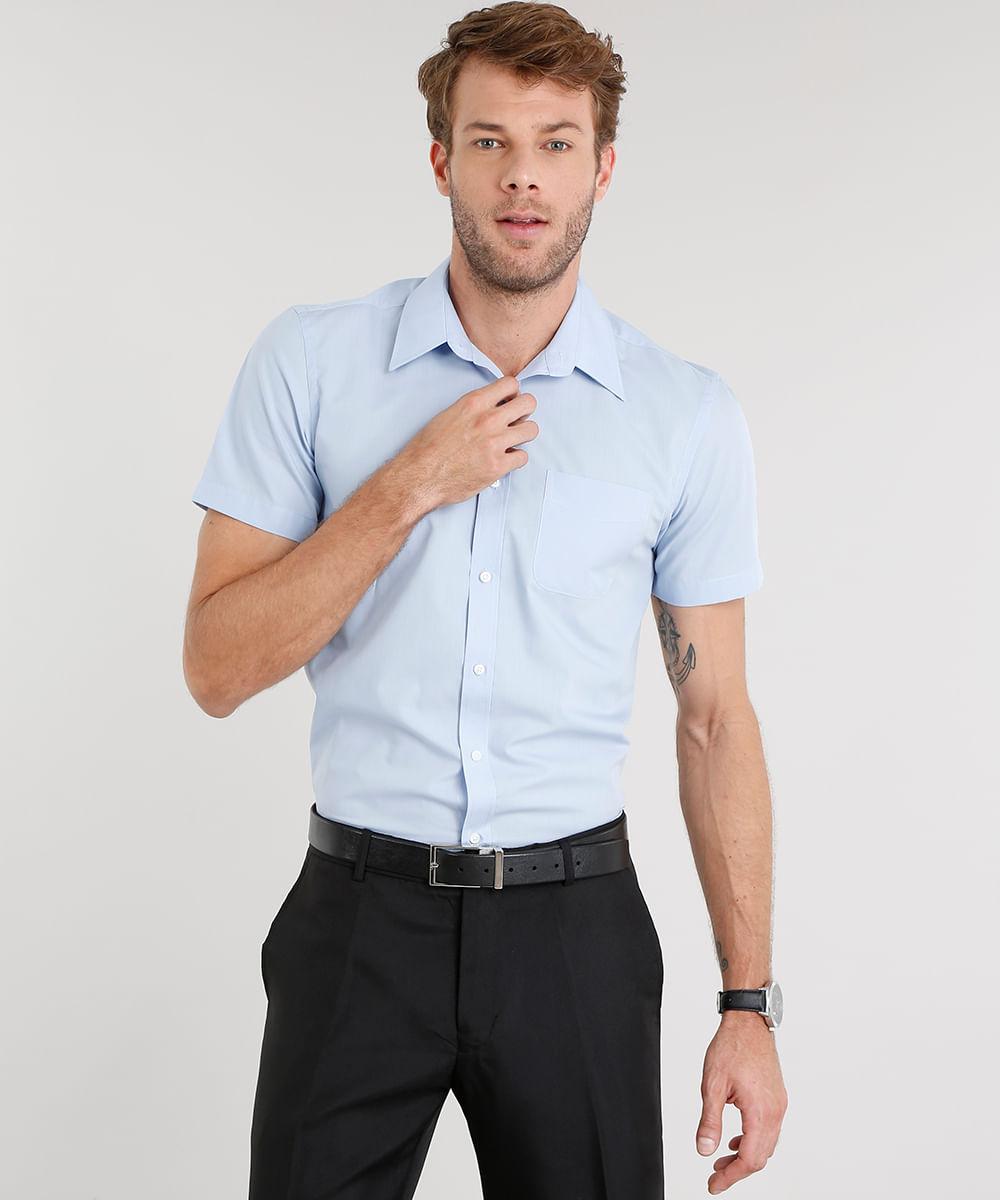 33122b8de ... Camisa-Masculina-Comfort-Manga-Curta-Azul-Claro-7602445-