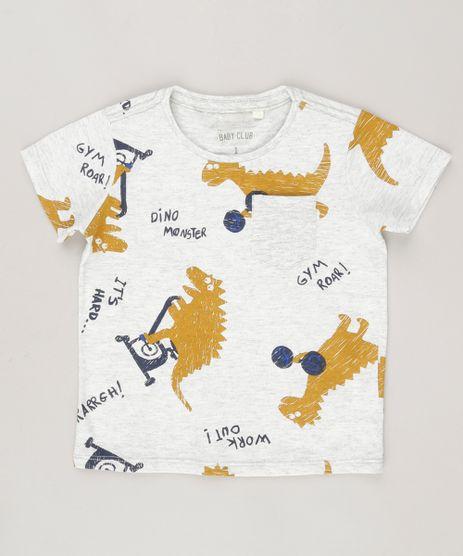 Camiseta-Infantil-Estampada-de-Dinossauro-com-Bolso-Manga-Curta-Gola-Redonda-Cinza-Mescla-Claro-9038020-Cinza_Mescla_Claro_1
