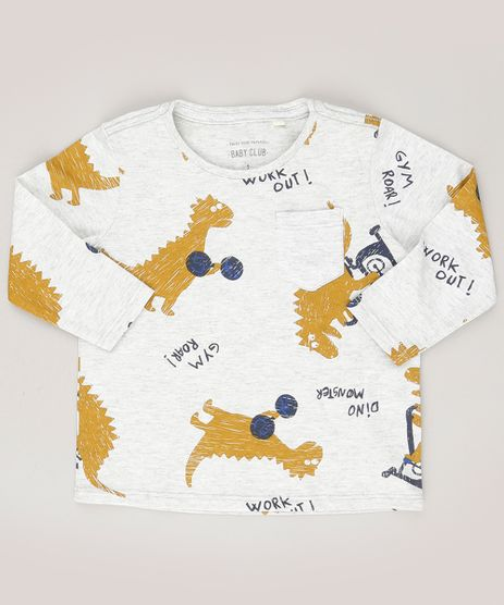Camiseta-Infantil-Estampada-de-Dinossauro-com-Bolso-Manga-Curta-Gola-Redonda-Cinza-Mescla-Claro-9038057-Cinza_Mescla_Claro_1