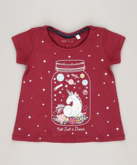 Blusa-Infantil--Unicornio--Brilha-no-Escuro-Decote-Redondo-Manga-Curta-em-Algodao---Sustentavel-Vinho-9044894-Vinho_1