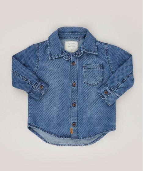 293423dadc2ac Camisa Jeans Infantil Estampada de Poá Manga Longa Azul Escuro - cea