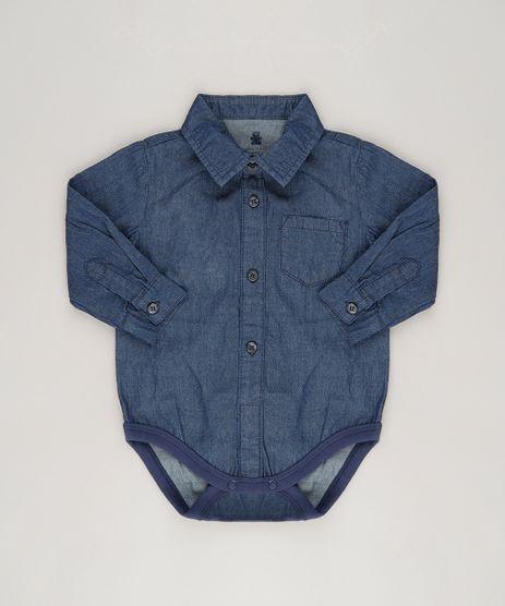 Body-Camisa-Jeans-Infantil-Manga-Longa-em-Algodao---Sustentavel-Azul-Escuro-8858980-Azul_Escuro_1