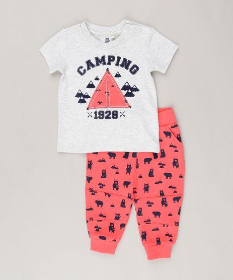 Conjunto-Infantil-com-Camiseta-Interativa-Manga-Curta--Camping--Cinza-Mescla-Claro---Calca-em-Moletom-Estampada-de-Ursos-Vermelha-8786850-Vermelho_1