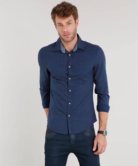 Camisa-Masculina-Slim-Estampada-Manga-Longa-Azul-Marinho-8851783-Azul_Marinho_1