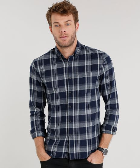 Camisa-Masculina-Comfort-Xadrez-em-Flanela-Manga-Longa-Azul-Marinho-8841847-Azul_Marinho_1