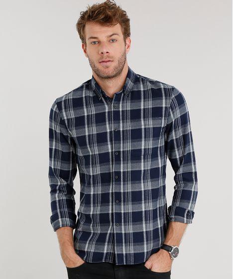 92c7e7684c Camisa Masculina Comfort Xadrez em Flanela Manga Longa Azul Marinho ...