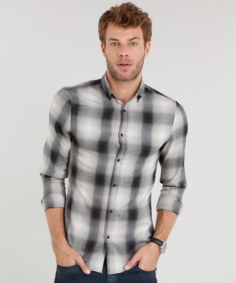 5cf8234937 Camisa-Masculina-Slim-Xadrez-Manga-Longa-Preta-8856156-