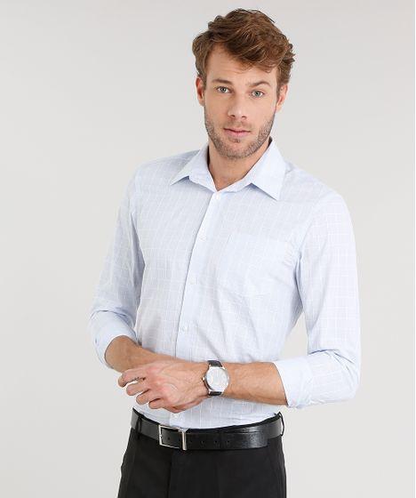 4cfeb8ae2 Camisa Masculina Slim Xadrez Manga Longa Azul Claro - cea