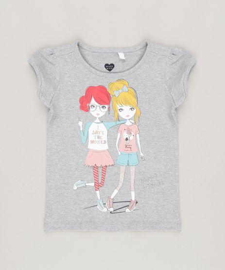 Blusa-Infantil--Happy-Friends--Decote-Redondo-Manga-Curta-Cinza-Mescla-9034411-Cinza_Mescla_1