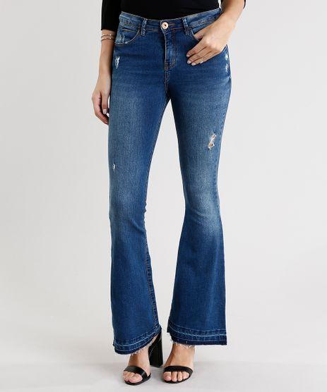 Calca-Jeans-Feminina-Flare-Cintura-Alta-Barra-Desfeita-Azul-Medio-9011558-Azul_Medio_1