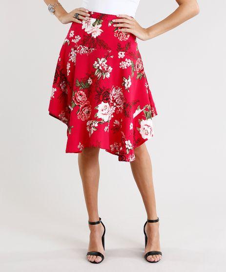 Saia-Feminina-Evase-Curta-Assimetrica-Estampada-Floral-Rosa-Escuro-8886918-Rosa_Escuro_1