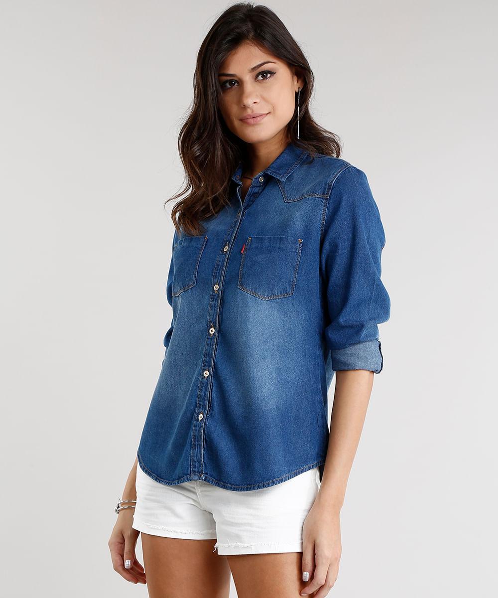 9ef9f285d2 ... Camisa-Jeans-Feminina-Manga-Longa-Azul-Escuro-9072661-