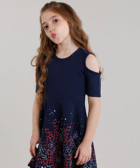 Vestido-Infantil-Texturizado--Estampado-Floral-Sem-Manga-Azul-Marinho-9041148-Azul_Marinho_1