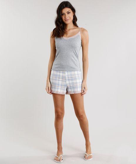 Short-Doll-Feminino-Xadrez-com-Renda-de-Alca-Cinza-Mescla-9007169-Cinza_Mescla_1