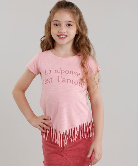 Blusa-Infantil--La-Reponse--com-Franjas-Manga-Curta-Decote-Redondo-Rosa-9108907-Rosa_1